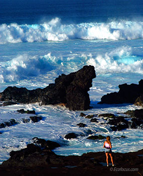 Wave action at Wainapanapa State Park
