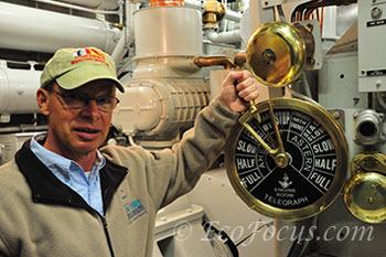 Bob Desh in engine room