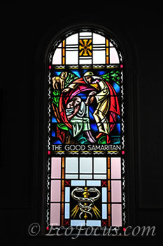 Moravian church stained glass window
